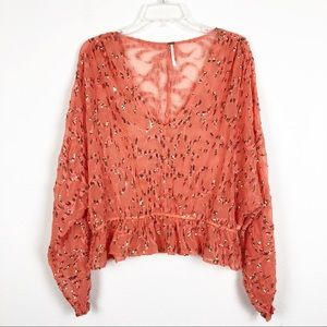 Free People Sequin Sheer Babydoll Blouse